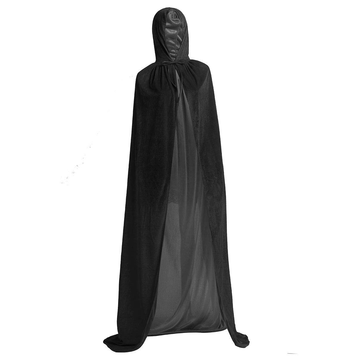 BJ-Shop Capas de Halloween,Fiesta de Halloween Disfraz Long Black Cloak Unisex Robe Cape para Ni/ños Adultos