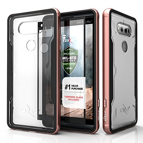 LG V20 Case, Zizo [Shock Series] w/ FREE [LG V20 Screen Protector] Transparent Clear [Military Grade Drop Tested] Aluminum Metal Bumper for LG V20