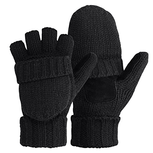 Bodvera Thermal Insulation Fingerless Texting Gloves Unisex Winter Warm Knitted Convertible Mittens with Flap Cover BK