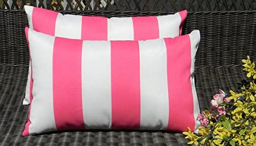 Resort Spa Home Decor Set of 2 Indoor Outdoor Decorative Lumbar Rectangle Pillows – Preppy Pink White Stripe