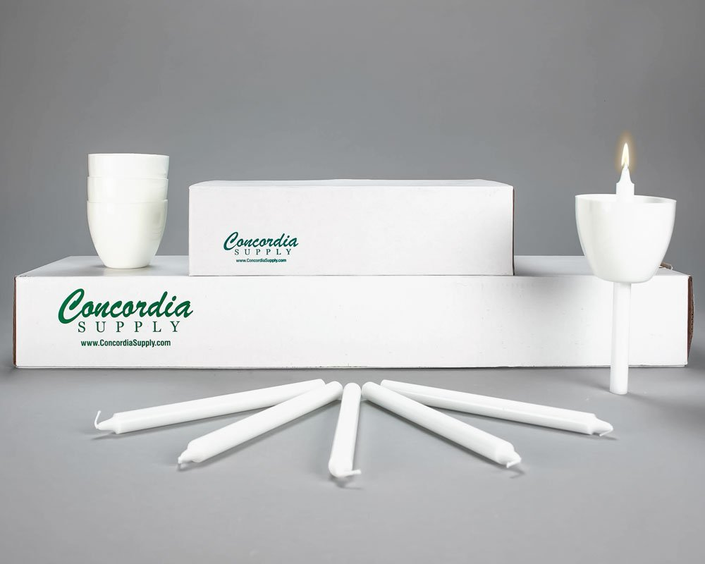 6.5'' Candlelight Candles & WHITE Plastic Shields (Set of 100) by Concordia Supply