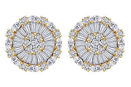 3.34 Carat Multi Shape White Natural Diamond Circle Stud Earrings 14k Solid Yellow -