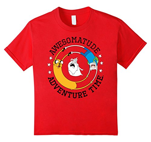 Kids Cartoon Network Awesomatude Adventure Time Graphic T-Shirt 12 Red (Youth T-shirt Time Big)