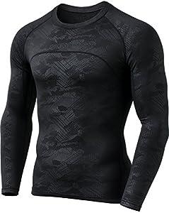 CQ-HUD304-BLK_Medium CQR Men's Thermal Wintergear Compression Baselayer Long Sleeve Shirt HUD304