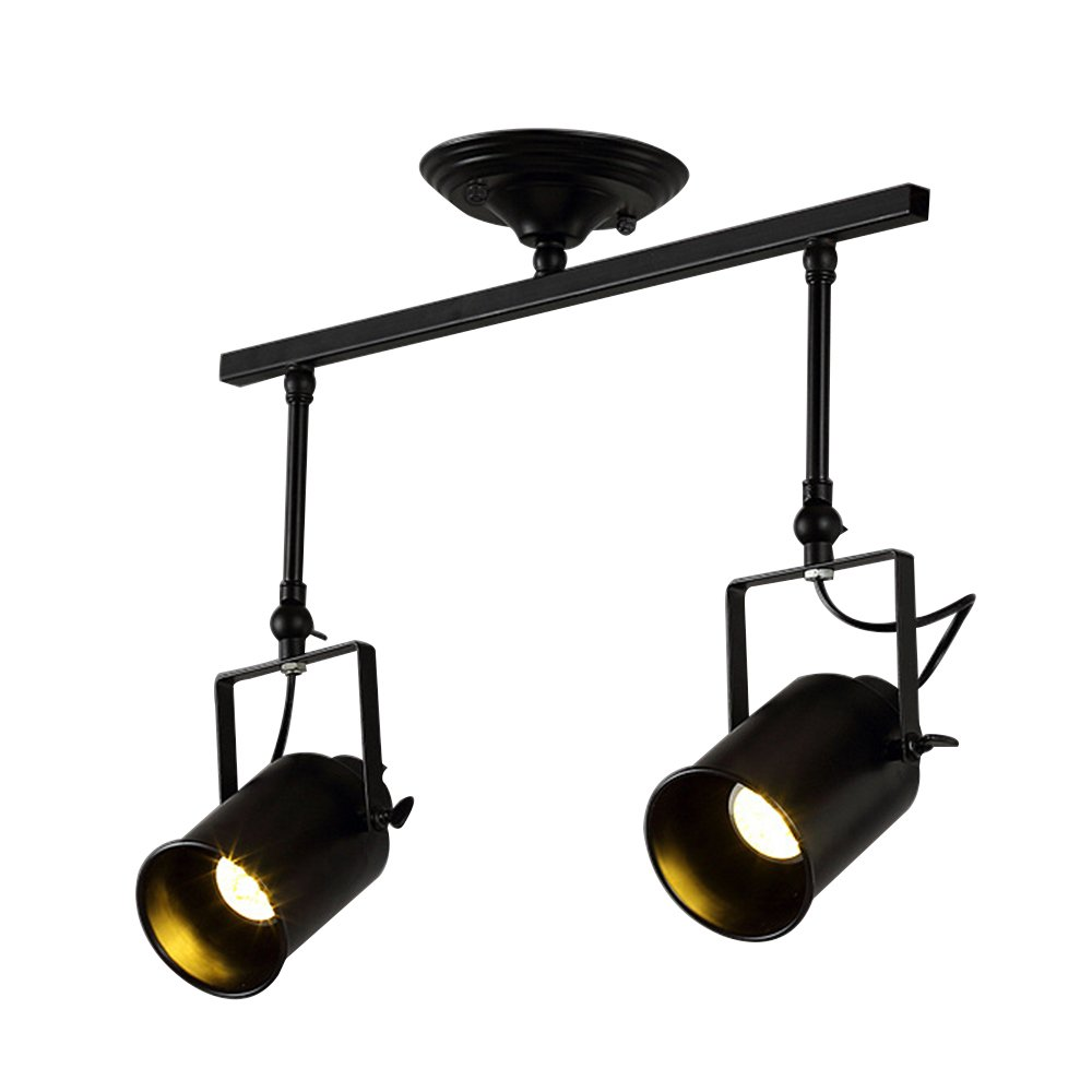 Vintage Ceiling Spot Track Light, MKLOT Retro Adjustable 2-Light Lighting Spot Light with Cone Black Shades,Black Bronze Finish
