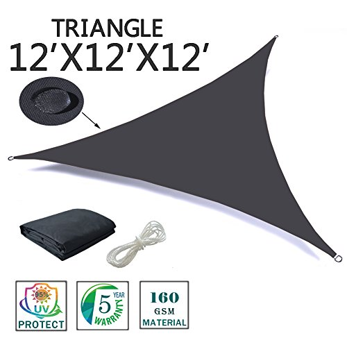 SUNNY GUARD 12' x 12' x 12' Charcoal Triangle Waterproof Sun Shade Sail UV Block for Outdoor Patio Garden