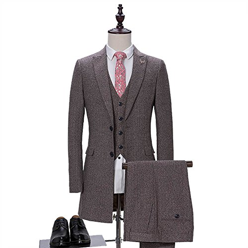 Men's Wool Blend Tweed Herringbone Slim Fit Groom Tuxedos Fashion Formal Business Long Leisure Casual Suits Vest Pants ()