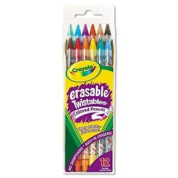 Crayola 687508 Twistables Radierbare Buntstifte, 12 verschiedene ...