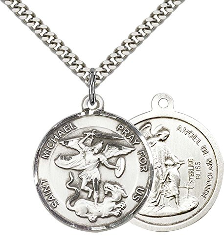 F A Dumont Church Supplies Sterling Silver St. Michael the Archangel Pendant with 24'' Stainless Silver Heavy Curb Chain. Patron Saint of Police Officers/EMTs by F A Dumont Church Supplies