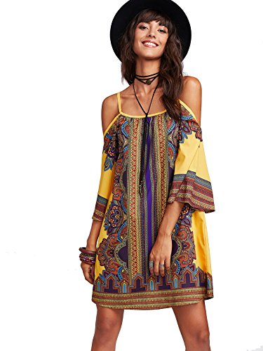 Milumia Women's Tribal Print Kimono Sleeve Geometric Tunic Boho Dress Large Yellow-3