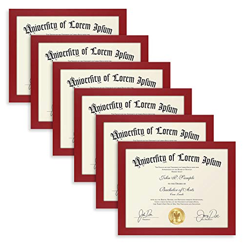 Icona Bay 8.5x11 Diploma Frame (6 Pack, Red), Sturdy Wood Composite Certificate Frame, Document Frame Bulk, Wall or Table Mount, Set of 6 Exclusives Collection ()