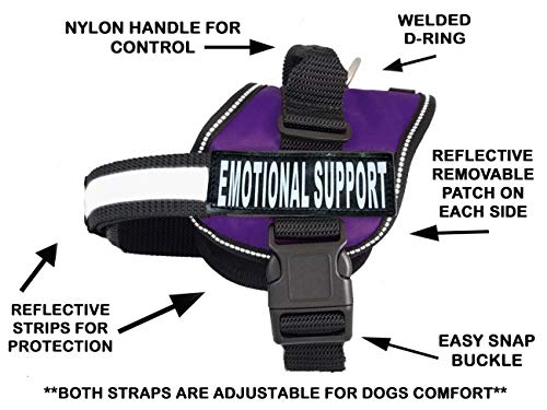 Emotional Support Nylon Dog Vest Harness. Purchase Comes with 2 Reflective Emotional Support pathces. Please Measure Your Dog Before Ordering (Girth 24-31