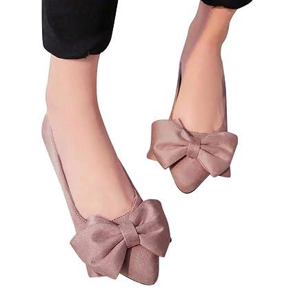 Sonnena Sandalias Mujer Bailarinas Zapatillas Zapatos Planos de Trabajo con Corbata de Moño Zapatos