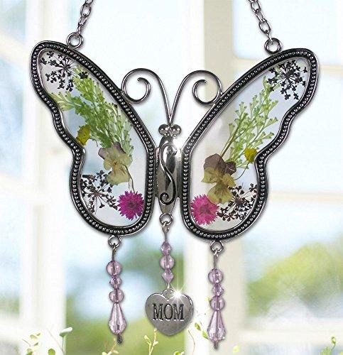 Mom Suncatcher (Smart Life Helper Mom Butterfly Mother Suncatcher with Pressed Flower Wings - Butterfly Suncatcher - Mom Gifts Gift for Mother's Day)