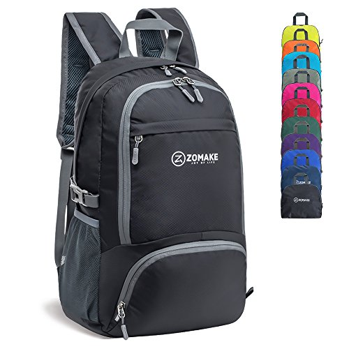 Price comparison product image ZOMAKE 30L Lightweight Packable Backpack Water Resistant Hiking Daypack,Small Travel Backpack Foldable Camping Outdoor Bag Black