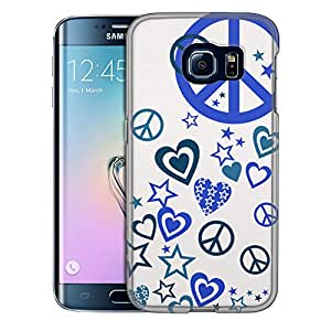 Samsung Galaxy S6 Edge Case, Slim Snap On Cover Blue Love Peace Stars on White Case