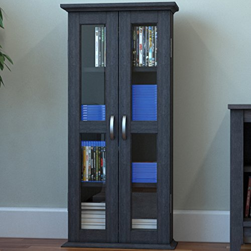 Ryan Rove Kirkwell 41 Wood Bookcase Multimedia Organizer Shelf DVD Media Storage Tower with Doors in Charcoal