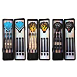 Flameer Set of 9 Soft Tip Darts with Storage/Travel Case Assorted Colors (Brass Barrels, Aluminum & Nylon Shafts, PET Flights, Plastic Tips)