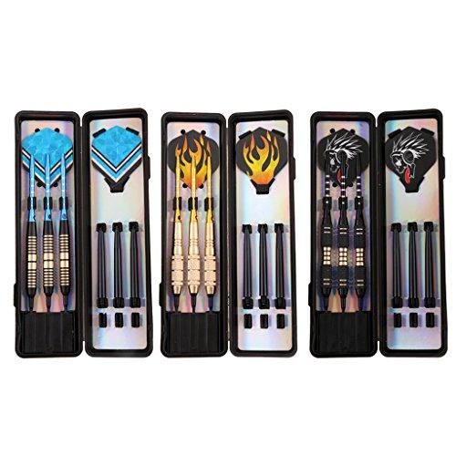 Flameer Set of 9 Soft Tip Darts with Storage/Travel Case Assorted Colors (Brass Barrels, Aluminum & Nylon Shafts, PET Flights, Plastic Tips) by Flameer