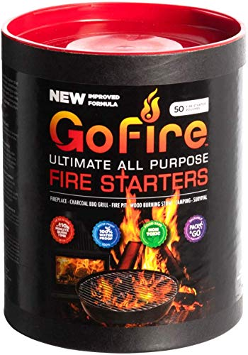 GoFire Fire Starters, Waterproof, Non Toxic, Packable Fire Starter! Perfect for Wood Stove. Firestarters for Wood Burning. Superior to Fat Wood! 50 Pack