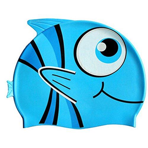 Lovely Dessin animé en silicone Bonnet de bain Dessin animé Poisson Bleu