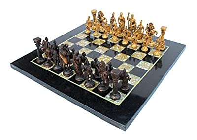 "StonKraft 15""(Marble) Non-Folding Professional Tournament Flat Collectible Chess Game Board Set Made with Black Marble, Mother of Pearl + Roman Brass Pieces (Delivery ≪ 7 Days)"