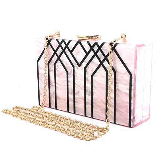 Champagne for Shoulder Evening Handbag Acrylic LETODE Clutch Bag Pink Evening Box Bag Stripes Party daY8vnqTx