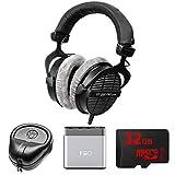 BeyerDynamic Professional Acoustically Open Headphones - 250 Ohms (DT-990-PRO-250) with Slappa HardBody Headphone Case, FiiO A1 Port Amplifier & 32GB MicroSD High-Speed Memory Card