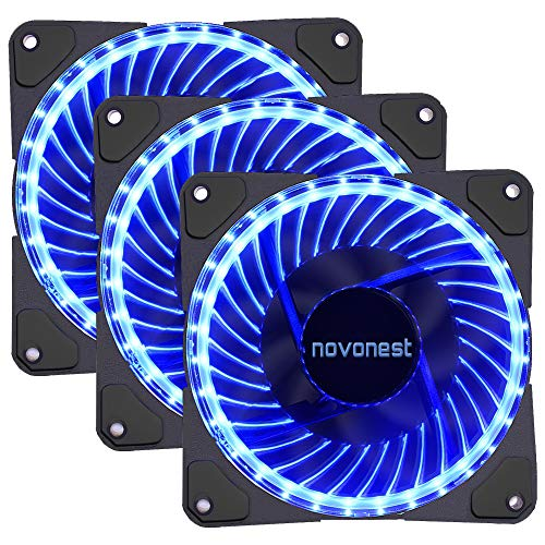 upHere- 120mm Sleeve Bearing 3-Pin 32 Blue LED Silent Fan for Computer Cases, CPU Coolers, and Radiators-Blue,32B3-3
