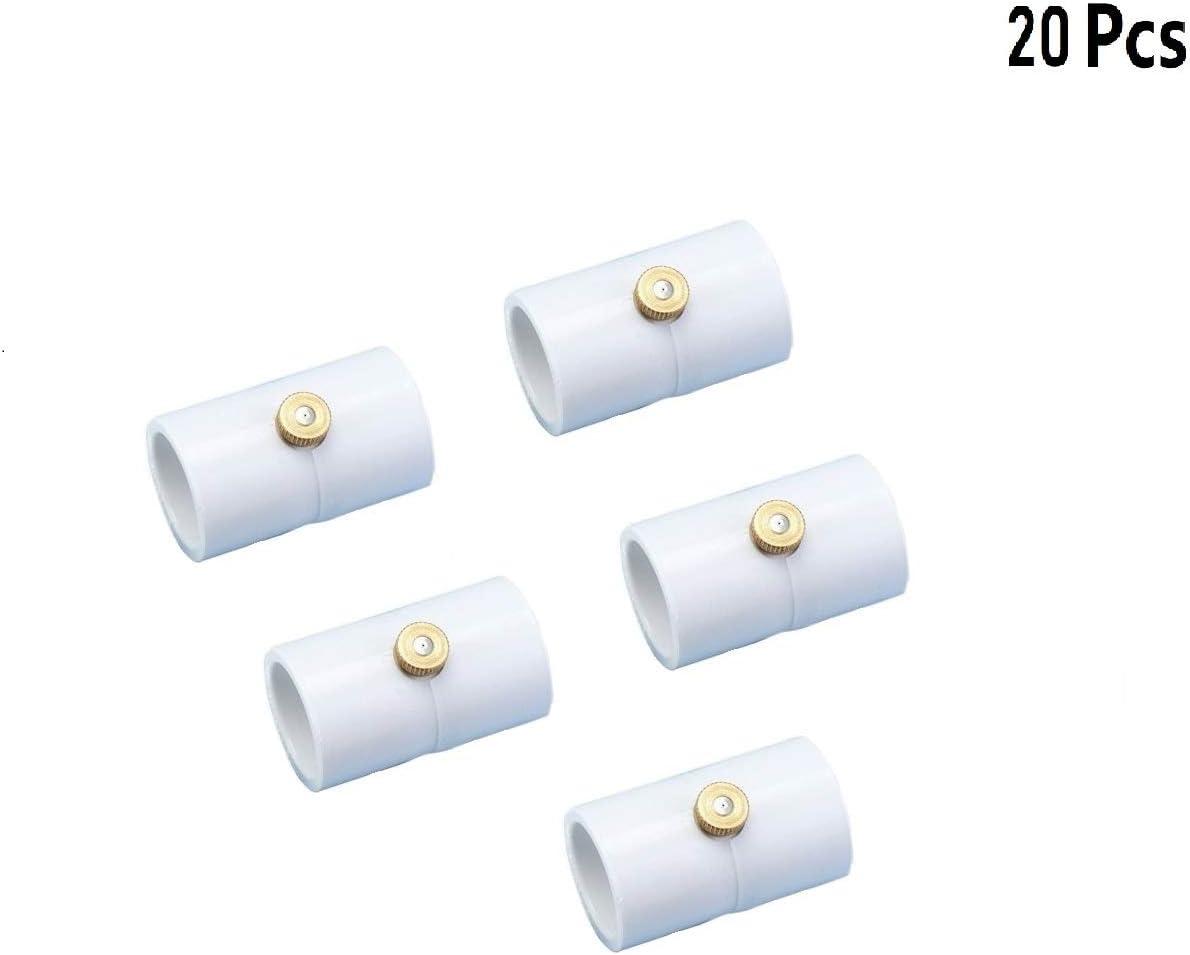 H&G lifestyles 1/2 Inch PVC Mist Nozzle Coupling PVC Split Section with Mist Nozzle (Pack of 20)