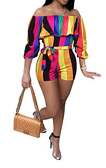c93014824e85b Striped Jumpsuits for Women Shorts - Off Shoulder Strapless 3 4 Sleeve  Rainbow Stripe Sexy