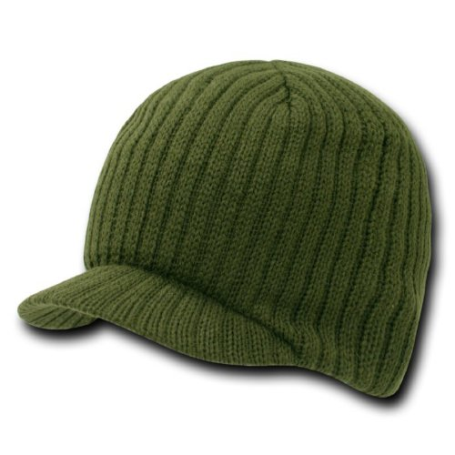 - SOLID CAMPUS JEEP CAP VISOR BEANIE SKI CAP (Olive) one size