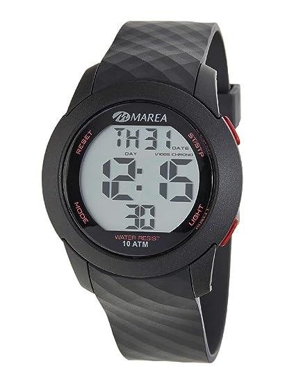 Reloj Marea Digital Cronógrafo para Hombre B40195/4 Negro y Rojo con Correa de Silicona: Amazon.es: Relojes
