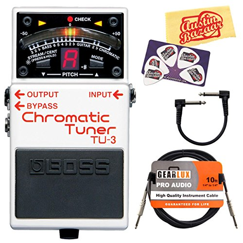 Boss TU-3 Chromatic Tuner Guitar Effects Pedal Bundle with Gearlux Instrument Cable, Patch Cable, Picks, and Polishing Cloth (Pedal Tuner Cable Strings)