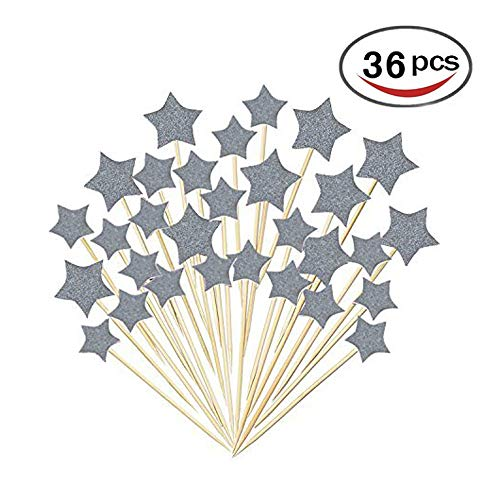 36 Pcs Twinkle Silver Star Cupcake Toppers DIY Glitter Mini Birthday Cake Snack Decorations Picks Suppliers Party Accessories for Wedding Baby Shower -