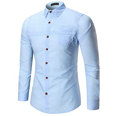 613361a3d5fc NUWFOR Men Spring Winter Casual Solid Color Long Sleeve Slim T-Shirt Top  Blouse(