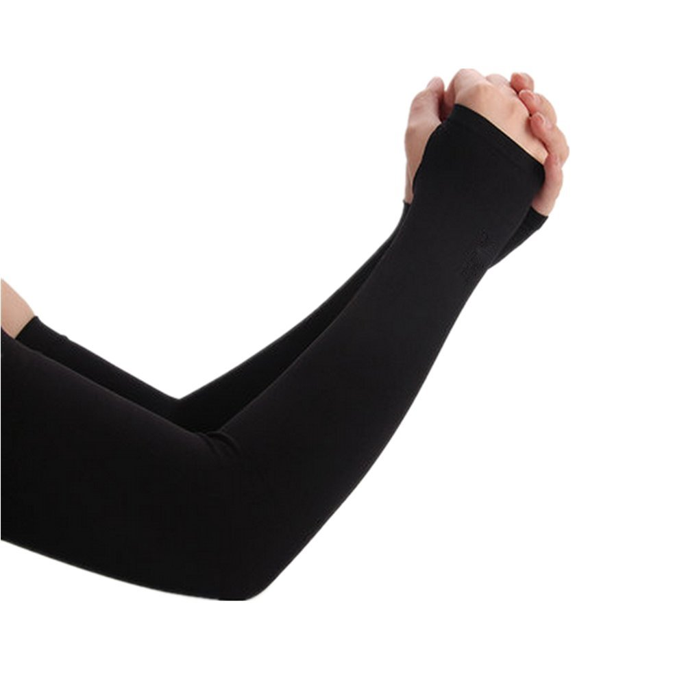 Skhls Sports UV Protection Compression Fit Cooling Arm Sleeves with Thumb Holes