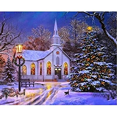 Paint by Number Kits - Snow Church Christmas Trees 16x20 Inch Linen Canvas Paintworks - Digital Oil Painting Canvas Kits for Adults Children Kids Decorations Gifts (with Frame)
