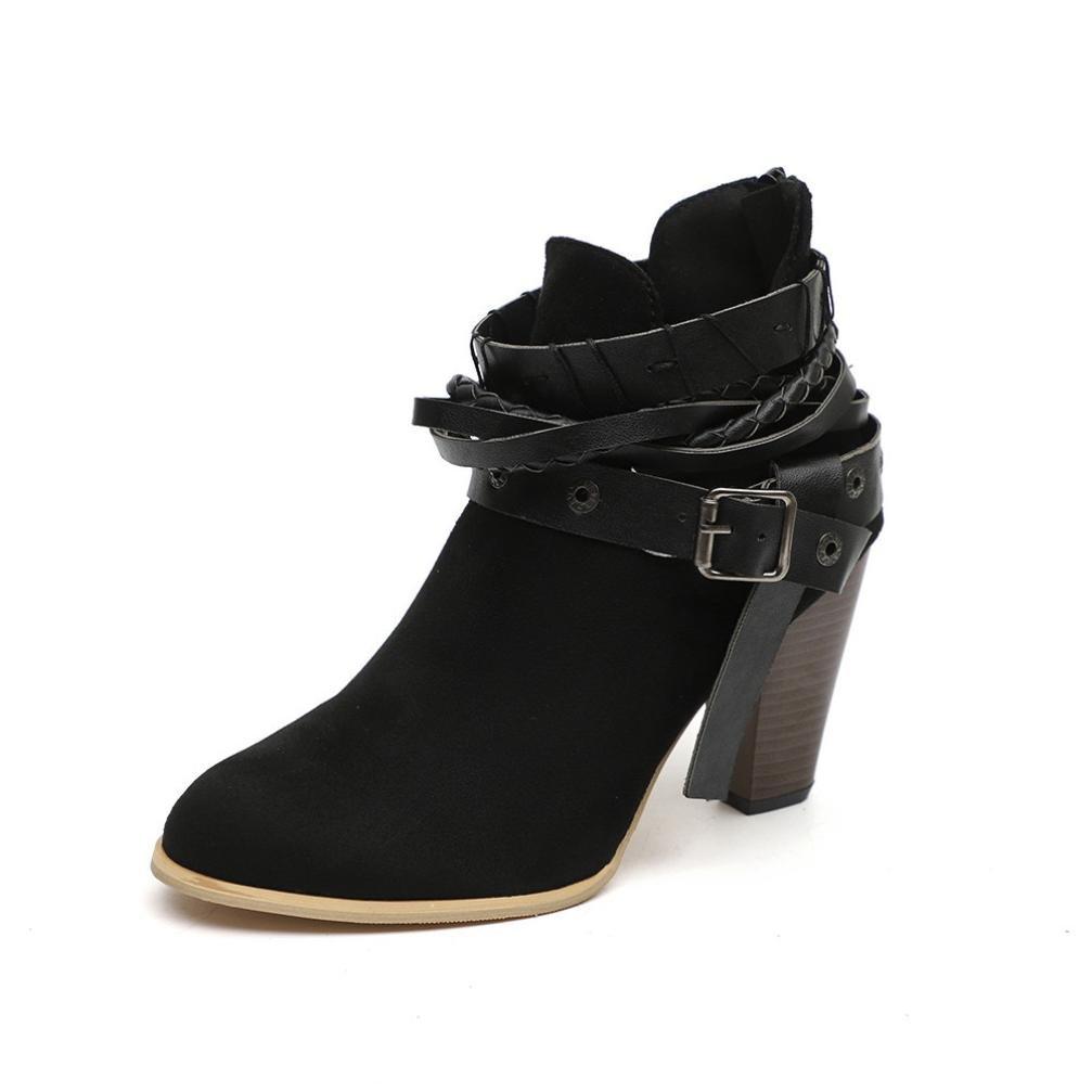 Botines Cortos De Mujer Botines De Cuero Knight Ladies Booties para Mujeres Suave Sandalias Material De Cuero, CóModo Y Suave ❤ Naturazy (Negro, ...