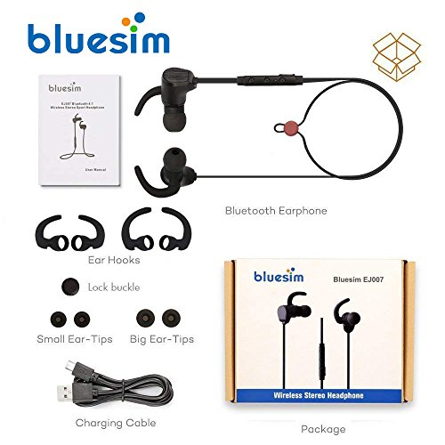 Bluesim Bluetooth Headphones with Microphone - 4.1 Wireless Bluetooth Earbuds for Running, Super Magnetic Neckband Earphones Noise Cancelling Bluetooth Headphones by Bluesim (Image #8)