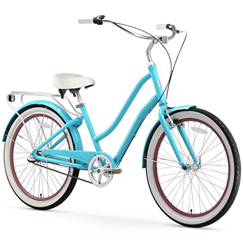 sixthreezero EVRYjourney Women's 3-Speed Step-Through Hybrid Cruiser Bicycle, Teal w/White Seat/Grips, 26
