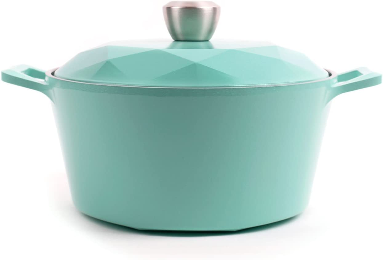 Neoflam Carat 4qt Ceramic Nonstick Stockpot with Oven-Safe Lid, Dutch Oven, Casserole, Multipurpose Pasta Pot with PFOA-Free healthy Ecolon Coating, Oven Safe, Dishwasher Safe, Turquoise