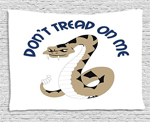 Dont Treat On Me Tapestry Art Abstract, Dangerous Poisonous Snake with Rattle Words, 3D Vision Nature Tree Tapestry Wall Hanging, 90 W x 60 L Inches, Dark Tan Night Blue Charcoal Grey White]()