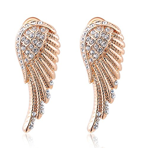 [Duo La Charm Angel Wings 18K Rose Gold Plated Cubic Zirconia Lady Elegant Stud Earrings] (Wine And Cheese Couples Costume)