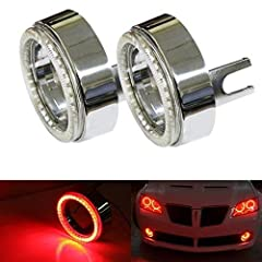 This page features the pair of brilliant red 40-SMD LED angel eyes halo rings made for custom retrofit use. The complete package includes (2) 40-SMD LED angel eyes halo rings and accompanying chrome shrouds for fog lights. Each LED angel eye ...