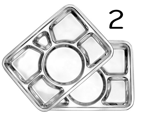 Rectangular Mess Trays (2-Pack); 16-Inch by 11-Inch 6-Compartment Divided Plates / Food Trays