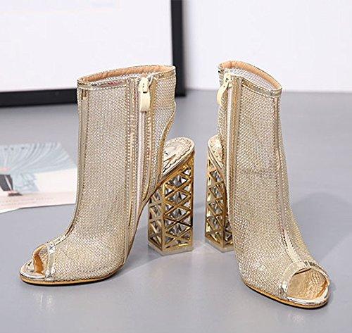 KHSKX-4.5Cm Sommer Goldene Schuhe Atmungsaktive Hohl Lederschuhe Die Absätze Mutter Schuhe Schuhe Mit Piste Schütteln Thirty-five