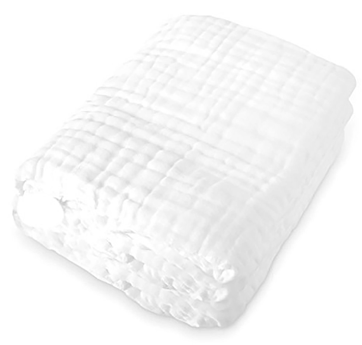 Dear Baby Gear Baby Blanket/Towel Cotton muslin 6 Layer Multi Use, White, 38 inches x 38 inches