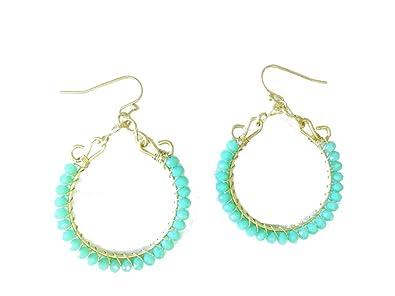 a8868609c8e89 Women Fashionable Girls Boho Beaded Turquoise Hoop Drop Earrings  (Turquoise