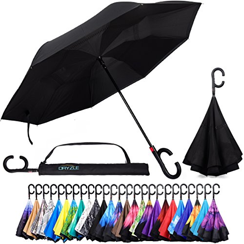 Reverse Inverted Inside Out Umbrella - Upside Down UV Sun Protection Windproof Brella That Open Better Than Most Umbrellas, Reversible Folding Double Layer, Suitable for Golf, Car, Women and Men ()